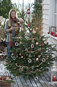 Nordmann fir as bird food Christmas tree on terrace