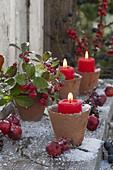 Terracotta pots as candlesticks, Gaultheria procumbens