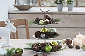 Etagere with cones, green balls and branches of Larix and Pinus