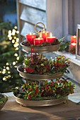 Advent decoration with candles and pear berries in metal tray