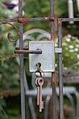 Nostalgic garden gate with keys
