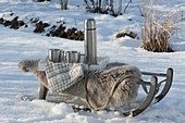 Sled with lambskin and thermos in the snow