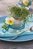 Cress (Lepidium) seeded in eggshell as an edible table decoration