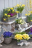Easter terrace with homemade flower staircase