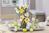 Easter bouquet from Narcissus with Betula branches