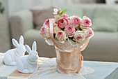 Romantic Easter bouquet with pink salmon silk ribbon