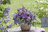 Mixed spring Aquilegia, Syringa bouquet tone in tone