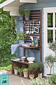 Outdoor kitchen at the garden house