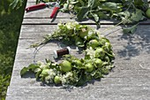 Green apples and meadowsweet summer wreath