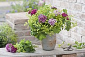 Bouquet of Alchemilla mollis and Dianthus barbatus