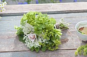 Small tea herb bouquet made with Alchemilla mollis (lady's mantle)