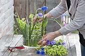 Lady's mantle cornflower cranesbill flower arrangement