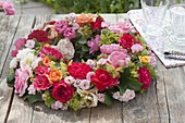 Mixed pink (rose) and alchemilla wreath