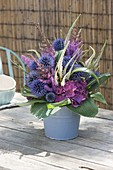 Bouquet made of perennial flowers and grasses, Echinops (Globular thistle)