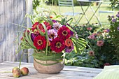 Late summer bouquet of zinnia and miscanthus