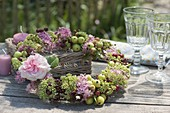 Late summer wreath from Malus, Hydrangea, Sedum