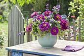 Late summer bouquet made of Zinnia, Salvia