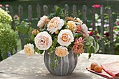 Apricot-colored bouquet of pink, zinnia