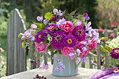 Rustic bouquet of pink, Zinnia, Lathyrus odoratus