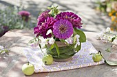 Small bouquet of Zinnia and Lathyrus, Miscanthus