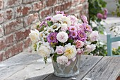 Late summer bouquet made of pink (rose), Zinnia (Zinnia) and Aster