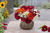 Small late summer bouquet in copper vase