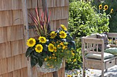 Basket with helianthus (sunflower) and tagetes tenuifolia