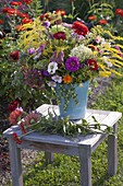 Putting cottage garden flowers bouquet