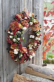 Berry Leaves Wreath on board wall