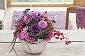 Autumnal bouquet from Dahlia, Brassica, Euonymus