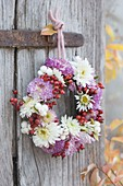 Small autumn wreath of chrysanthemum, Rose