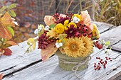 Small autumn bouquet with chrysanthemum (autumn chrysanthemum)