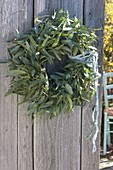 Wreath made from cutback of Eucalyptus on old wooden door