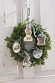 Easter wreath from Buxus (Box) with Easter wafers