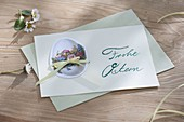 Easter greeting card 'Frohe Ostern', designed with Easter wafer