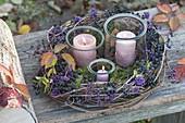 Preserving jars as lanterns in autumn wreath
