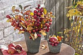 Bouquet with branches of ornamental apple (Malus), apples as decoration