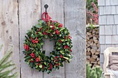 Ilex (holly) with red berries wreath