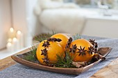 Christmas scent, oranges with star anise on silver wire