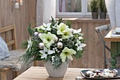 White Christmas Bouquet of Hippeastrum (Amaryllis), Euphorbia