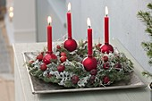 Advent wreath from Chamaecyparis Plumosa