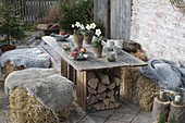 Rural winter terrace with straw bales