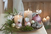 Christmas decoration with pinus, moss, cones, Christmas tree balls