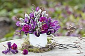 Small bouquet with catkins, iris reticulata, betula