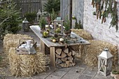 Rural winter terrace with straw bales to sit on