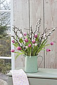 Bouquet of Tulipa (tulip) and twigs of Salix (kitten's willow)