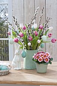 Easter bouquet from Tulipa, branches of Salix