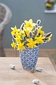 Small bouquet of Narcissus 'Tete A Tete' (Daffodil) and Salix