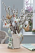 Bouquet from Salix (kitten pasture) with Easter eggs and fabric birds