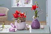 Small Easter decoration with Tulipa (tulip), Helleborus orientalis